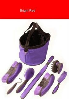 Great Grips Red 8 Piece Grooming Kit with Tote Bag Horse Tack Equine