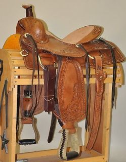 Western Natural Roper Wade Hand Carved Rawhide Laced Horn 16 Saddle