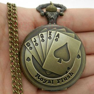 Bronze Royal Flush Poker Pocket Watch Necklace Pendant Chain Gift P80