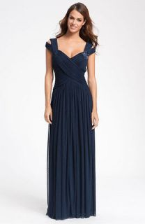 JS Collections Navy Blue Beaded Mesh Gown Dress Size 6