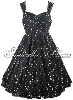 Hell Bunny~MiNDKiLL​a~ Black White Stars Party Dress Ball Gown XS XL
