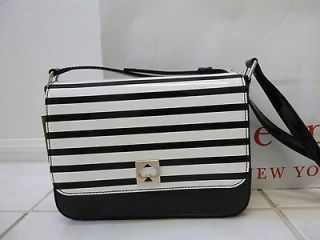 NWT Kate Spade Randi Kingsbury Park black white stripe Crossbody