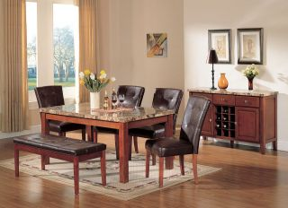 PC High End Brown Marble Finish Dining Room Set Table and Chairs