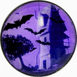 Halloween Crystal Dome Button Bats & Haunted House Purples   HW2
