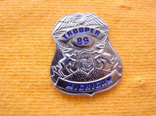 MICHIGAN STATE POLICE TROOPER PROUD SILVER EAGLE MINI SHIRT LAPEL