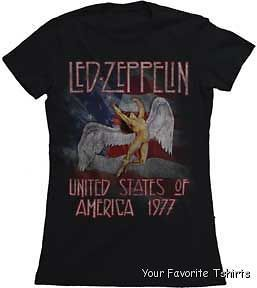 Licensed Led Zeppelin America 1977 Tour Women Junior Shirt S XL