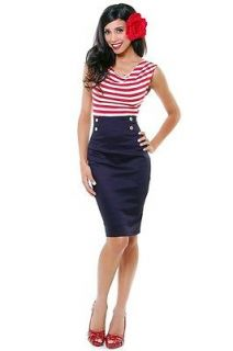 60 s pinup red striped hello sailor nautical wiggle dress