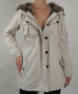 ODD MOLLY New 364 Winter White Faux Fur Lined Coat, Jacket M, Medium