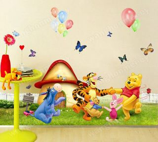 Cute Disney Winnie the Pooh Meadow Removable Wall Sticker Kids Nursery