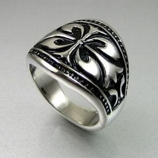 Biker Mens Black Silver Stainless Steel Celtic Wide Ring Size 12