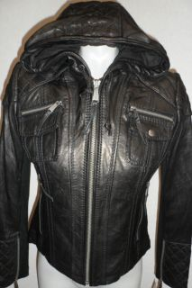 women s michael kors leather jacket with hood new s m l xl