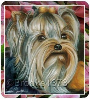 Yorkie Poinsettias Christmas mouse pad Yorkshire Terrier puppy