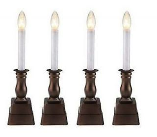 of 4 Battery Operated Sensor Window Candles Bethlehem Lights Bronze