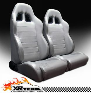 SP Style PVC Leather Grey Racing Bucket Seats+Sliders New LH+RH BMW