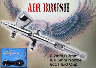Dual Action Gravity Feed Airbrush Kit Paint Spray Gun Hose Set Makeup