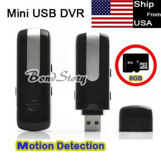 Spy Hidden DV Motion Detect USB Disk Camera DVR Record +8GB TF Card