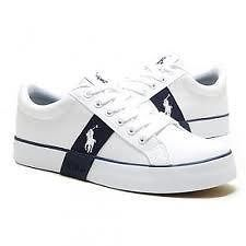 polo ralph lauren giles youth kids boys white navy leather sneakers