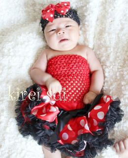 newborn baby red white polka dots minnie mouse pettiskirt tutu skirt 0