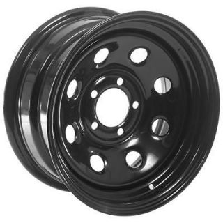 Summit Racing 85 Black Steel 8 Series Wheels 15x7 5x4.5 BC Set of 4