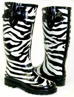 Flat GALOSHES WELLIES RUBBER RAIN Boot Riding Hunter BLACK WHITE ZEBRA