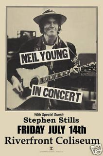 Classic Rock Neil Young at Riverfront Coliseum Concert Poster Circa