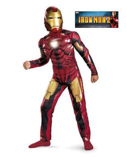 Boys L 8 10 12 Iron Man Mark VI Muscle Suit Costume w/ Mask Reflective