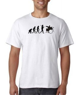 White Fruit Loom Evolution of Man Drums Music Rock T Shirt Tee Tama