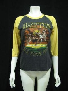 LED ZEPPELIN U.S.Tour 1975 Vintage Re Printed Jersey Women T Shirt XS