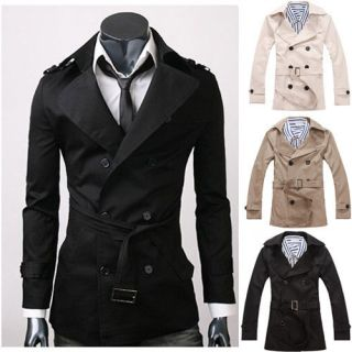 FASHION MENS CASUAL DOUBLE BREASTED TRENCH COAT SLIM FIT JACKET 1284