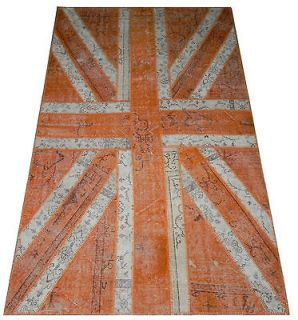 Union Jack Patchwork Rug Made from Overdyed Vintage S.Antique