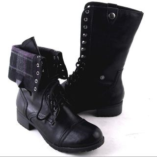 NEW WOMENS BLACK MIDCALF LACEUP OR FOLD DOWN COMBAT BOOTS SIZE 9