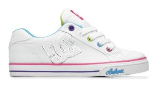 New DC Shoes Girls Kids Chelsea Canvas White Pink Blue 1 Youth Skate