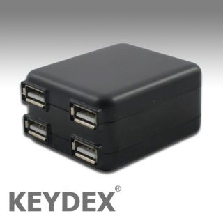 KEYDEX 4 Port USB AC Charger Adapter for iPhone iPad 2 New 3rd Gen