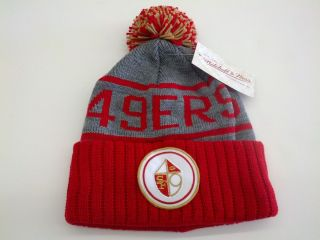 OFFICIAL MITCHELL AND NESS NFL SAN FRANCISCO 49ERS POM BEANIE