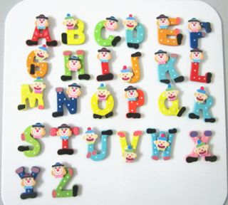HOT Baby Gift 26x Wooden Magnet Letters Alphabet fridge Magnet