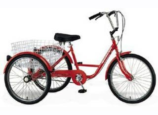 Wheel Adult Tricycle 24 Trike 6 Speed Bike Red Gomier