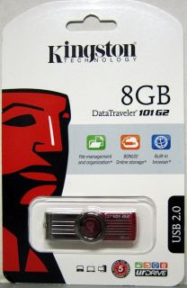Genuine Kingston 8GB DataTraveler USB Flash Drive   NEW in PKG
