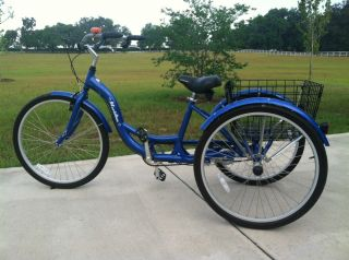 Blue Adult 3 Wheel Aluminum Cruiser Bicycle Bike Trike Tricycle