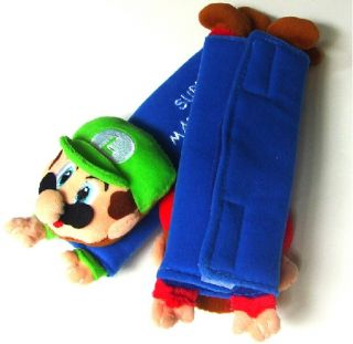Pair Super Mario Bros Plush Mario Doll Car Seat Belt Cover