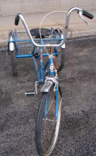 Vintage  Tricycle 3 Wheel Adult Bike Bicycle 17 Frame Blue