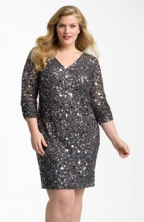 Aidan Mattox Embellished Mesh Sheath Dress (Plus) 22W $350.00