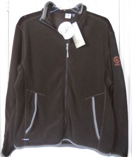 NWT XL MENs Polartec Aigle Actimum BROWN FLEECE Hoody JACKET SWEATER