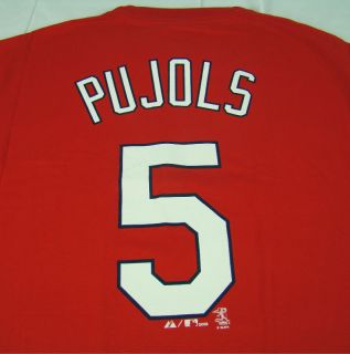 Mens Majestic MLB Albert Pujols St Louis Cardinals T Shirt Red Any Sz