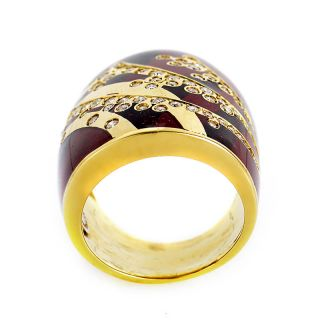 Alessandro Fanfani 18K Yellow Gold Red Enamel Diamond Band Ring