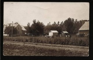 Algona Iowa IA 1917 RPPC Farm House Barn Animals