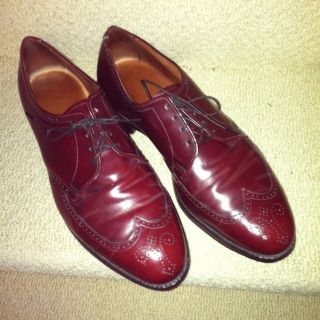 Allen Edmonds Mens Burgundy Dress Shoes Size 11 D Wing Tip Leather