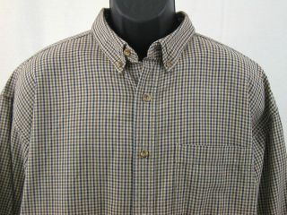 MENS L L BEAN XL HEAVY COTTON LONG SLEEVE CHECK CASUAL BRN BLK SHIRT