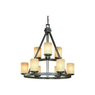 Hampton Bay Alta Loma 9 Light Scavo Glass Chandelier Dark Bronze