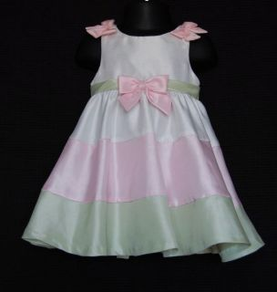 RARE Editions Baby Girl White Pink Green Easter Dress Size 12M 12
