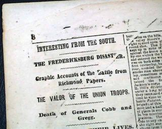 FREDERICKSBURG VA General Burnsides Loss 1862 NY Civil War Newspaper